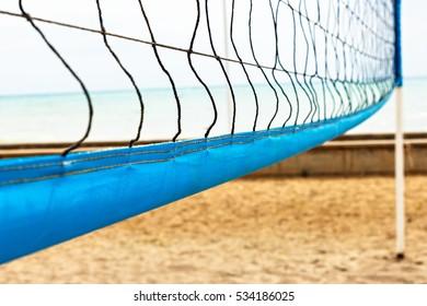 Beach volleyball net close up. Horizontal image.