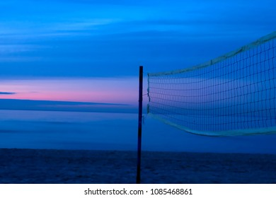 Beach volleyball net in the evening