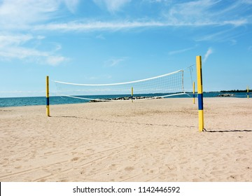 Beach Volleyball Net on an empty beach at Kew-Balmy Beach, Toronto.