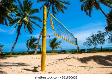 Beach volleyball on the beach