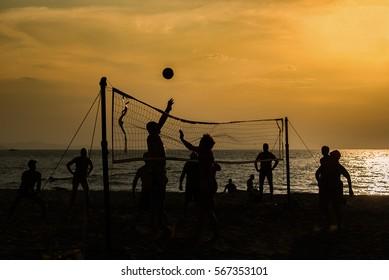 Beach volleyball on the beach.