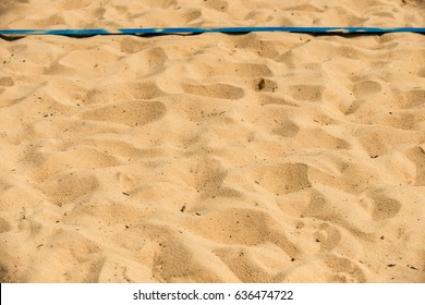 Beach volleyball sand court with a shallow depth of field