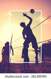 Beach Volleyball at sunset Playing Sport Concept