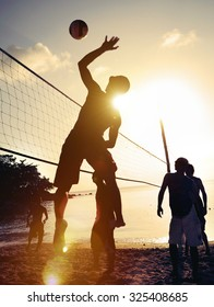 Beach Volleyball Sunset Sport Playing Exercise Leisure Concept