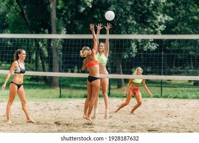 Beach Volleyball. Women playing Beach Volleyball