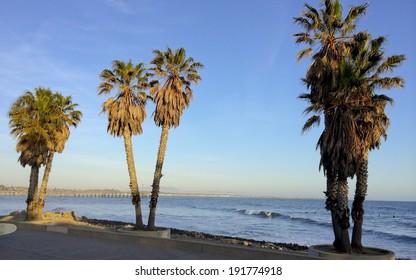 Beach Walk along Pacific ocean coast in city of City of San Buenaventura, Southern California