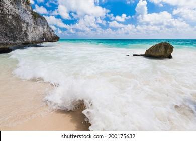 Beach wave, Caribbean Sea, Mexico