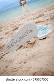 5da2417da6623 wedding flip flops Stock Photos