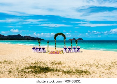 Beach wedding setup on Hawaii