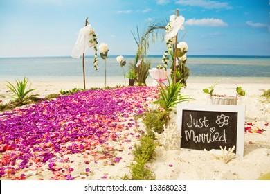 beach wedding venue (focus on text)