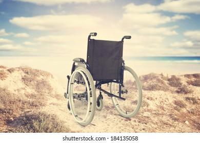 beach and wheelchair