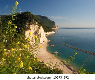 beach and white cliffs, monte conero, marches, italy