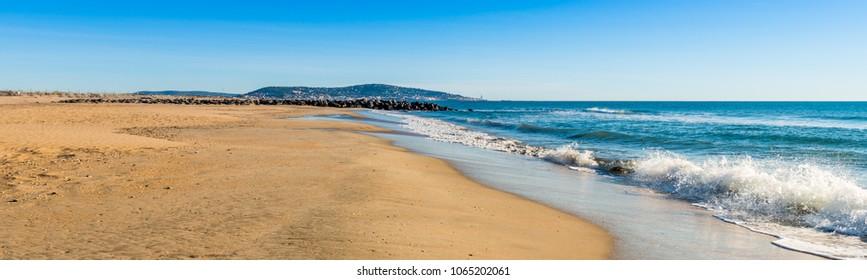 beach of Sète in winter in Occitanie, France