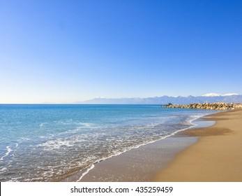 Beach without people in Lara near Antalya in Turkey. Asia Minor