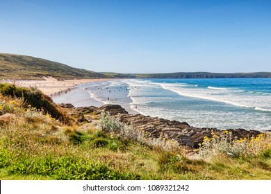 The beach at Woolacombe, North Devon, England, UK, on one of the hottest days of the year.
