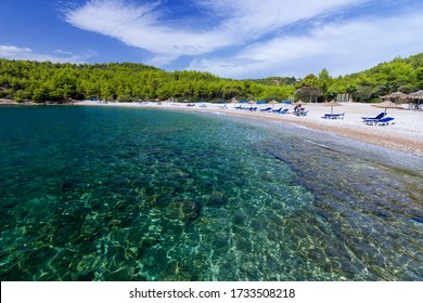 Beach of Xylokeriza, in Spetses island, Argosaronic Gulf, Greece, Europe.