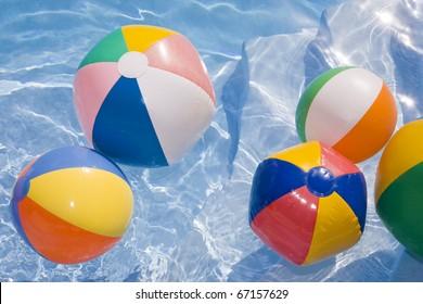 Beachballs in a bright blue pool