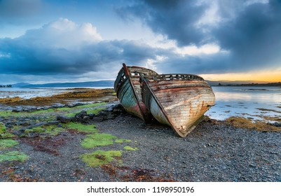 Beached fishing boats on the Isle of Mull in Scotland