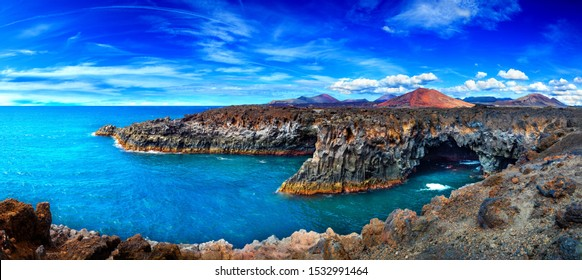 Beaches, cliffs and islands of Spain.Scenic landscape Los Hervideros lava's caves in Lanzarote island,landmark in Canary islands