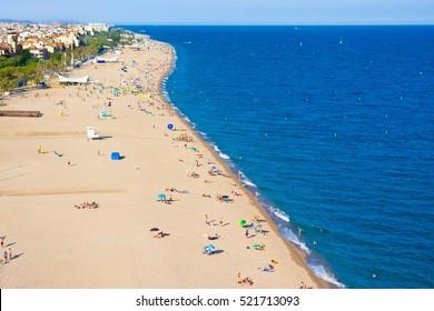 Beaches, coast in Calella. Catalonia. Spain