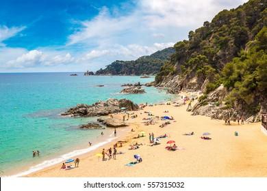 Beaches in Lloret de Mar in a beautiful summer day, Costa Brava, Catalonia, Spain