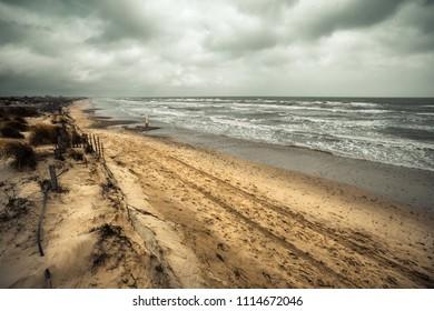 the beaches of the Mediterranean under autumn weather