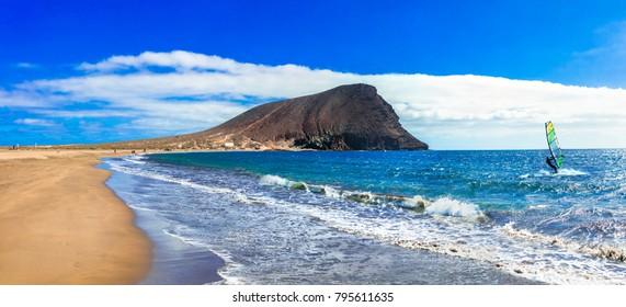 Beaches and water activities in Tenerife. La Tejita beach (el Medano). Canary islands
