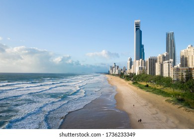 Beachfront aerial view of Surfers Paradise on the Gold Coast, Australia on a sunny day.