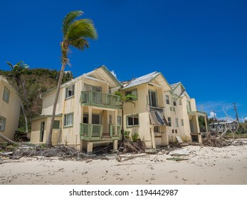 Beachfront condos on Tortola, BVI, hit by hurricane Irma in Sept.2017