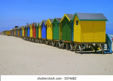Beachfront huts on beach in Cape Town South Africa