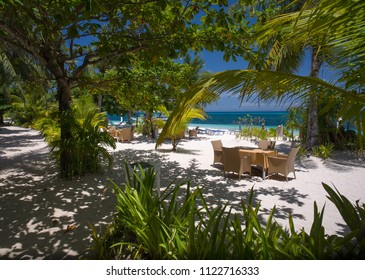 Beachfront tables and chairs for outdoor dining at tropical resort - Malapascua, Cebu - Philippines
