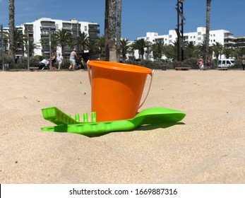 Beachlife with child's bucket and shovel at the beach of Miami, USA.