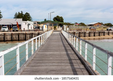 the beachport jetty looking back to the township with no people located in beachport south australia on november 9th 2020
