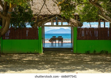 Beach-side Restaurant at Areia Branch, Timor Leste, with View of Atauro Island