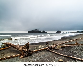 beach,small islands and walkers in the beach off the Washington coast on the La Push, Native American Reservation, USA