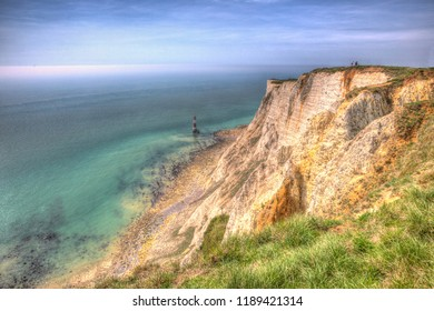 Beachy Head East Sussex England UK with lighthouse in colourful HDR