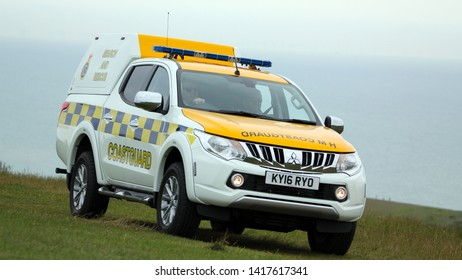 Beachy Head Eastbourne East Sussex UK 5th June 2019  Coastguard vehicle on patrol on the cliff top