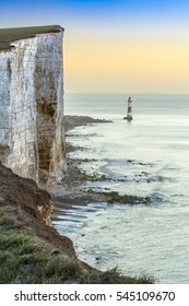 Beachy Head Light House and Chalk Cliffs at Sunrise, Sussex, England, UK