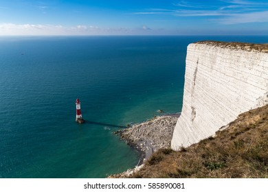Beachy Head Lighthouse and cliff in the morning, near Eastbourne, East Sussex, England, UK