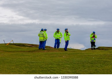 Beachy Head Sussex, UK: 29th Jan 2019: Crew from the HM Coastguard prepare to absail down the cliffs in search of a body