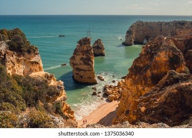 Beack in Portugal, Algarve, Albufeira; photo with selective focus and sharp