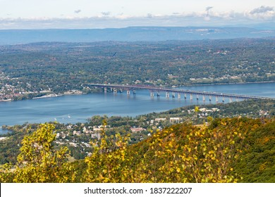 Beacon, New York - October 3, 2020 :  View of the Newburgh-Beacon Bridge crossing the Hudson River from Mount Beacon. Beautiful clear afternoon.
