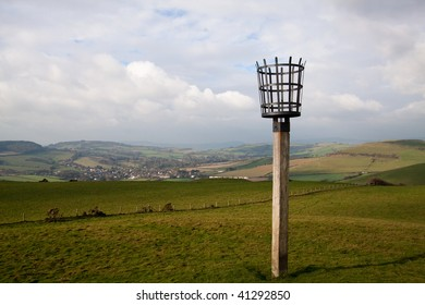 A beacon on the Dorset coast of England, One of a chain lit to celebrate Golden Jubilee of Queen Elizabeth Second