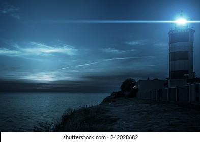 Beacon on the island at night