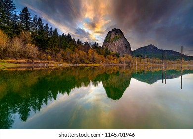 Beacon Rock from Boat Dock Moorage along Columbia River Gorge during Sunset in Washington State