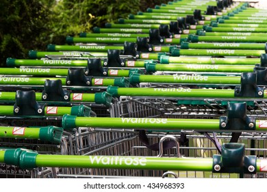 BEACONSFIELD, ENGLAND - JUNE 2016: Waitrose shopping trollies outside store in Beaconsfield