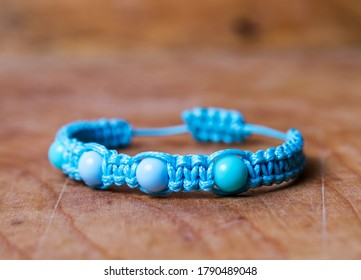 Bead bracelet on the wooden table