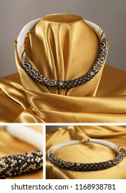 Bead rope, seed beads, bead necklace. Black with white bead necklace on a gold satin on gray background
