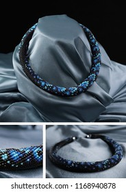 Bead rope, seed beads, bead necklace. Black with blue bead necklace on a blue satin on black background
