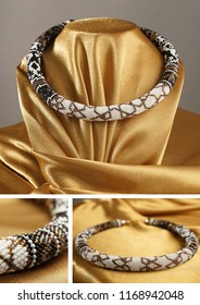 Bead rope, seed beads, bead necklace. White bead necklace on a gold satin on black background